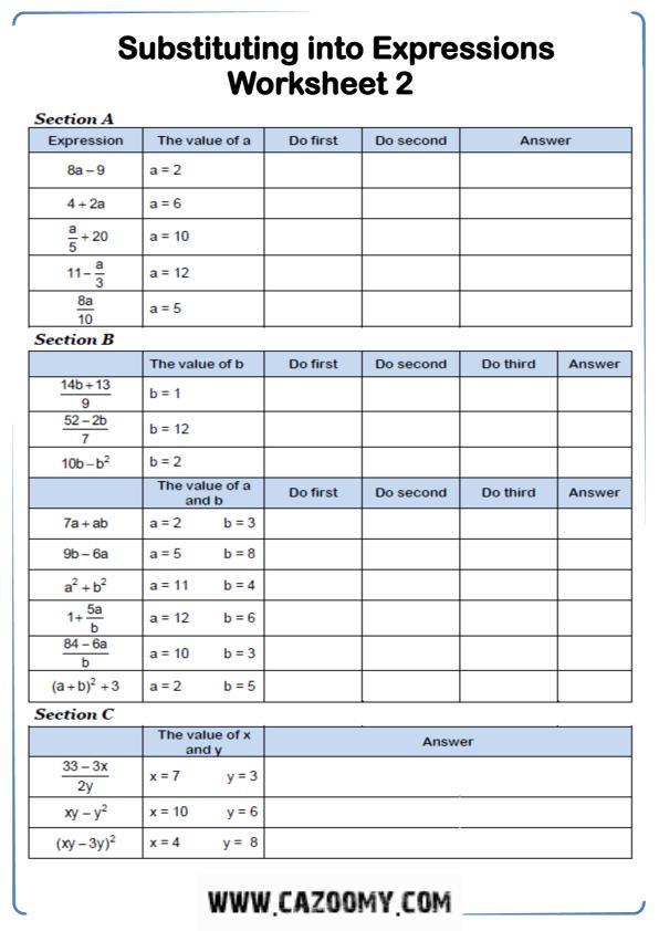 Free Math Worksheet Algebra 12