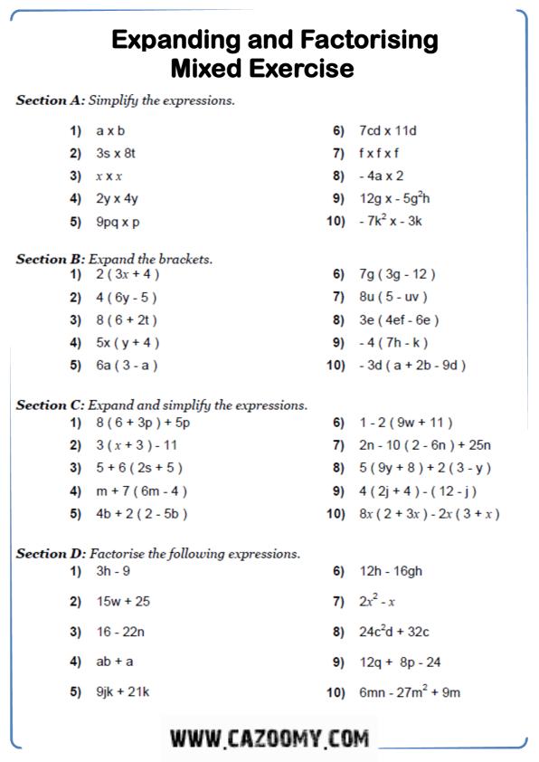 Free Math Worksheet Algebra 4