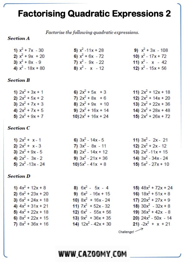 Free Math Worksheet Algebra 5