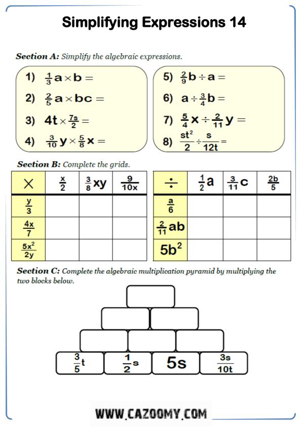 Free Math Worksheet Algebra 9