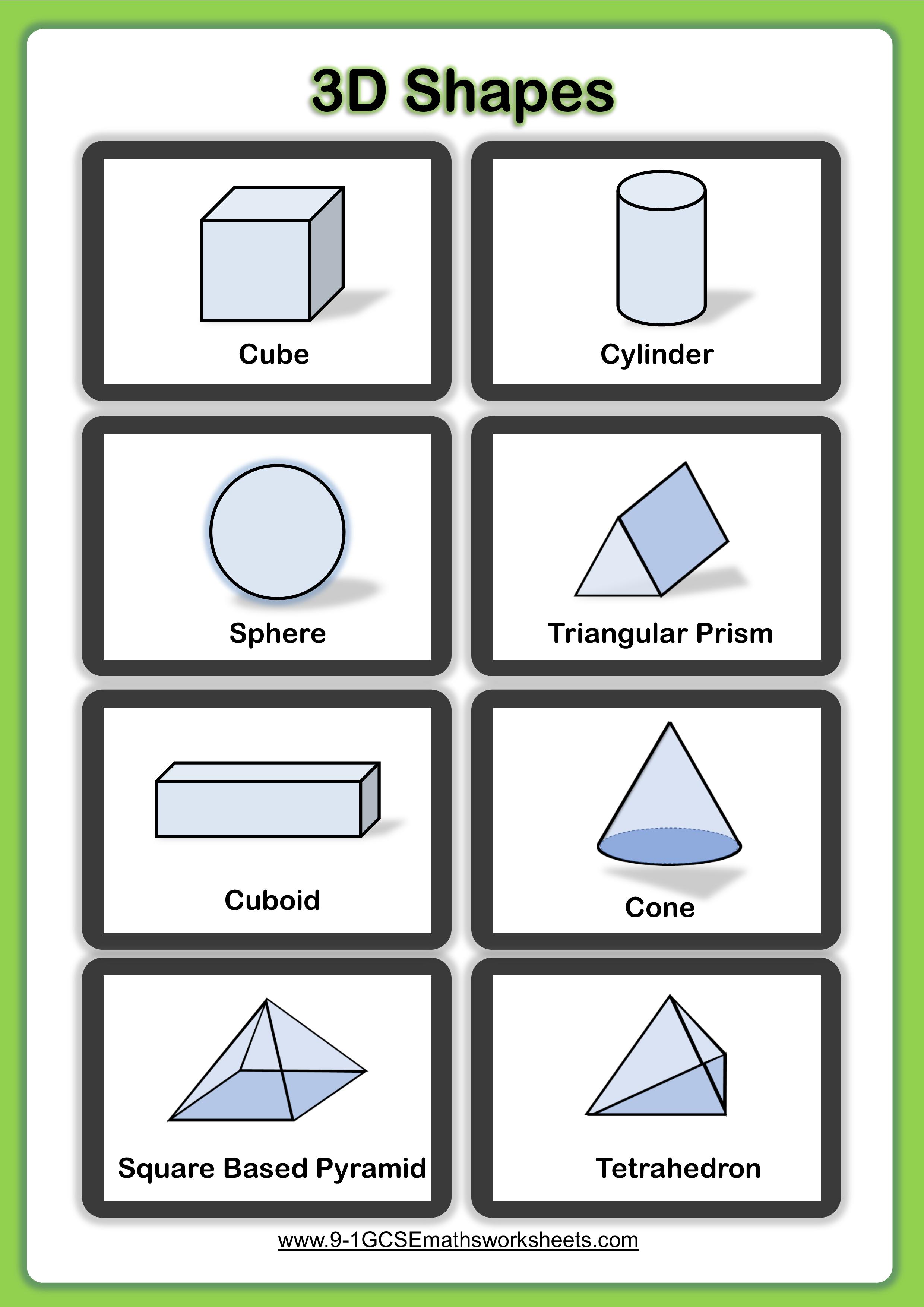 3d shapes worksheet