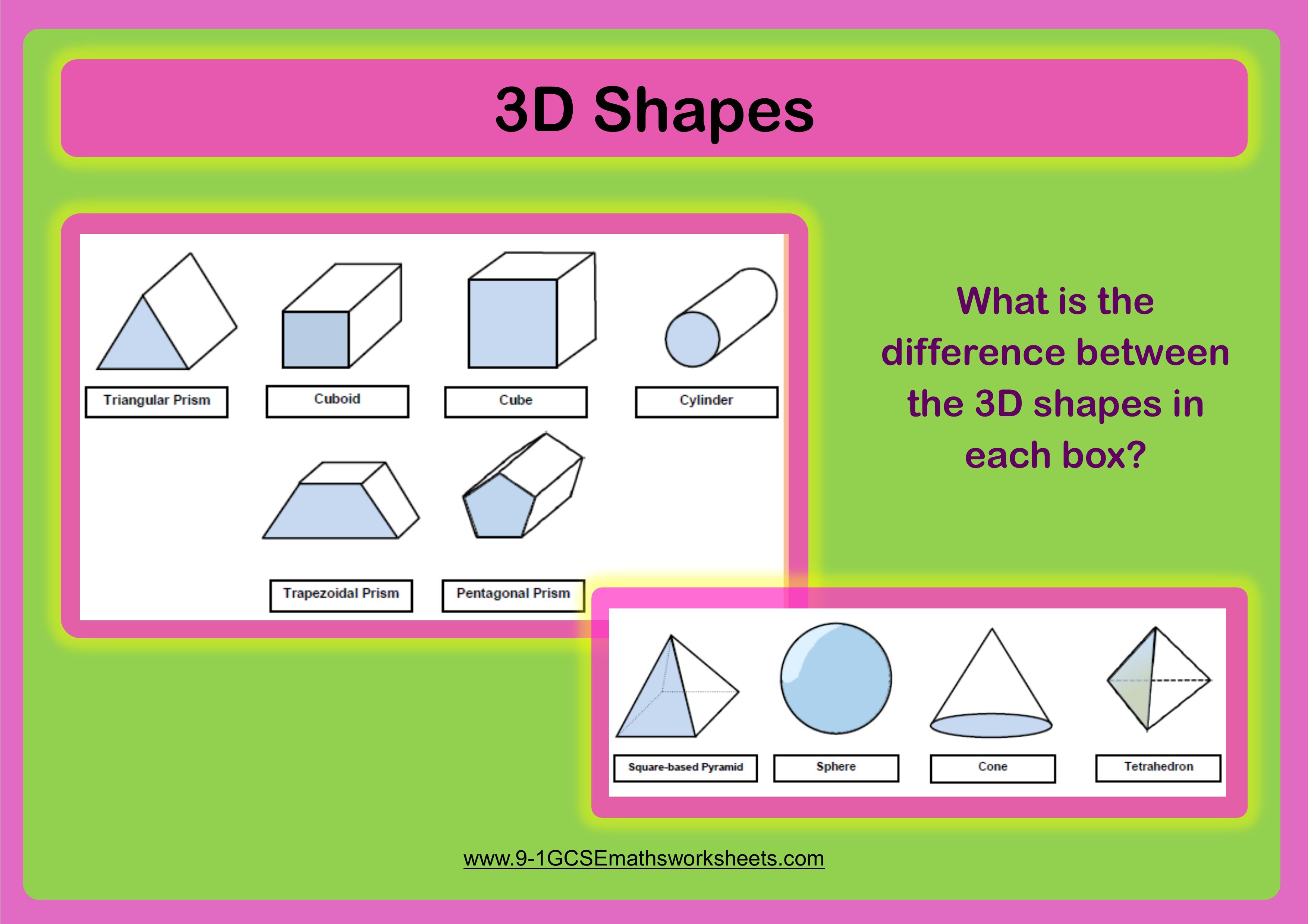 properties of 3d shapes worksheets