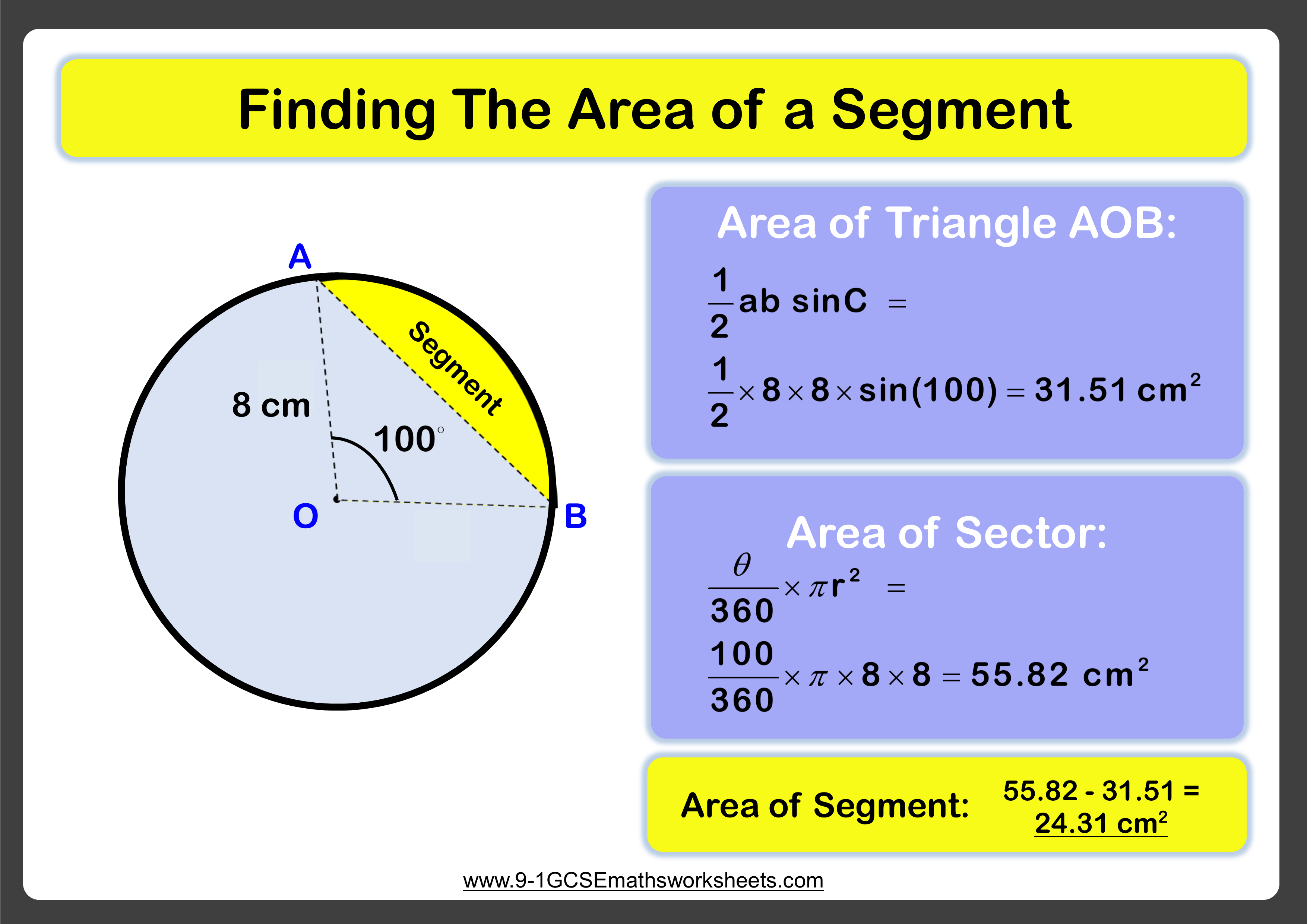 area of segment worksheet