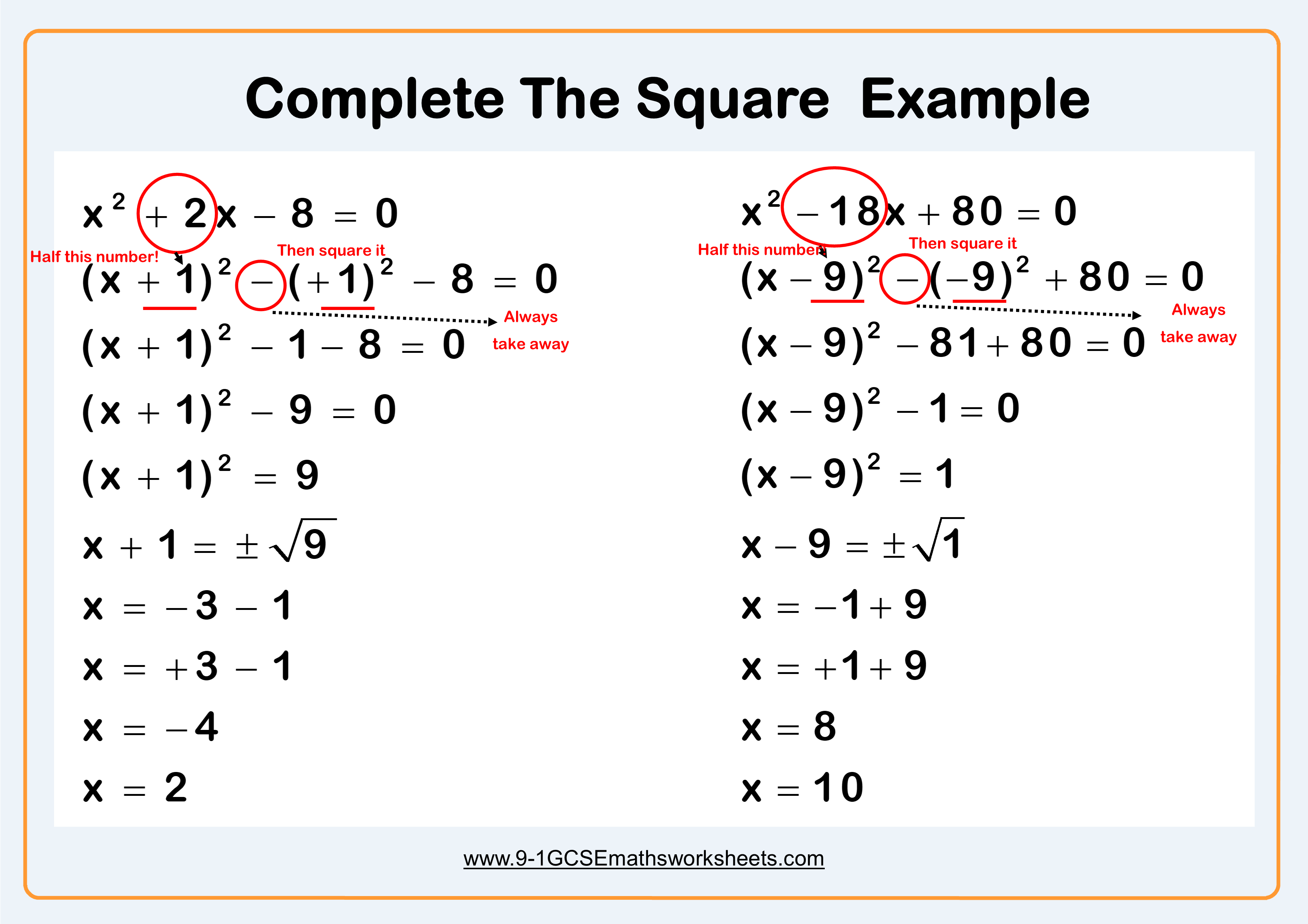 Completing The Square Example