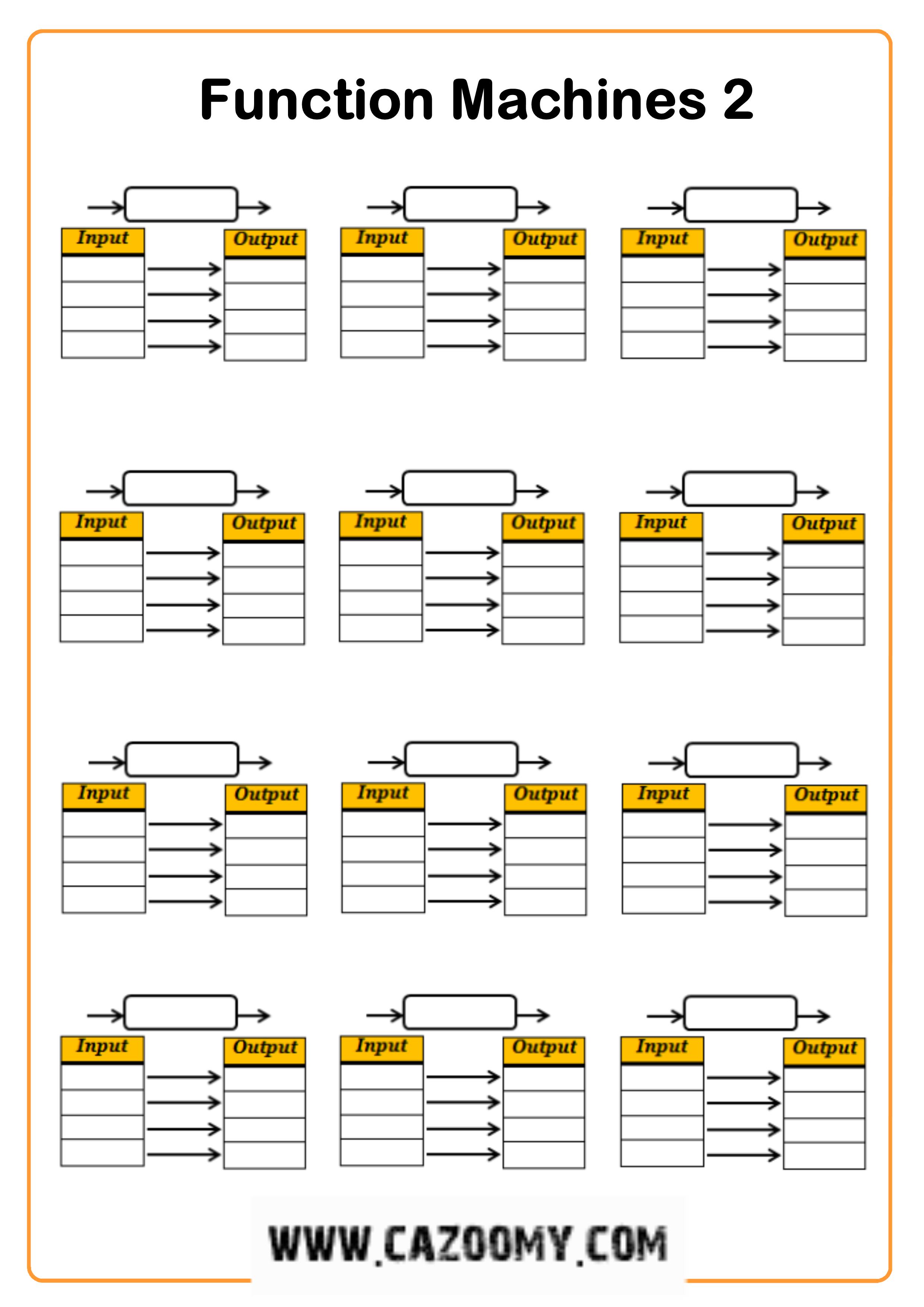 function machines worksheet 2