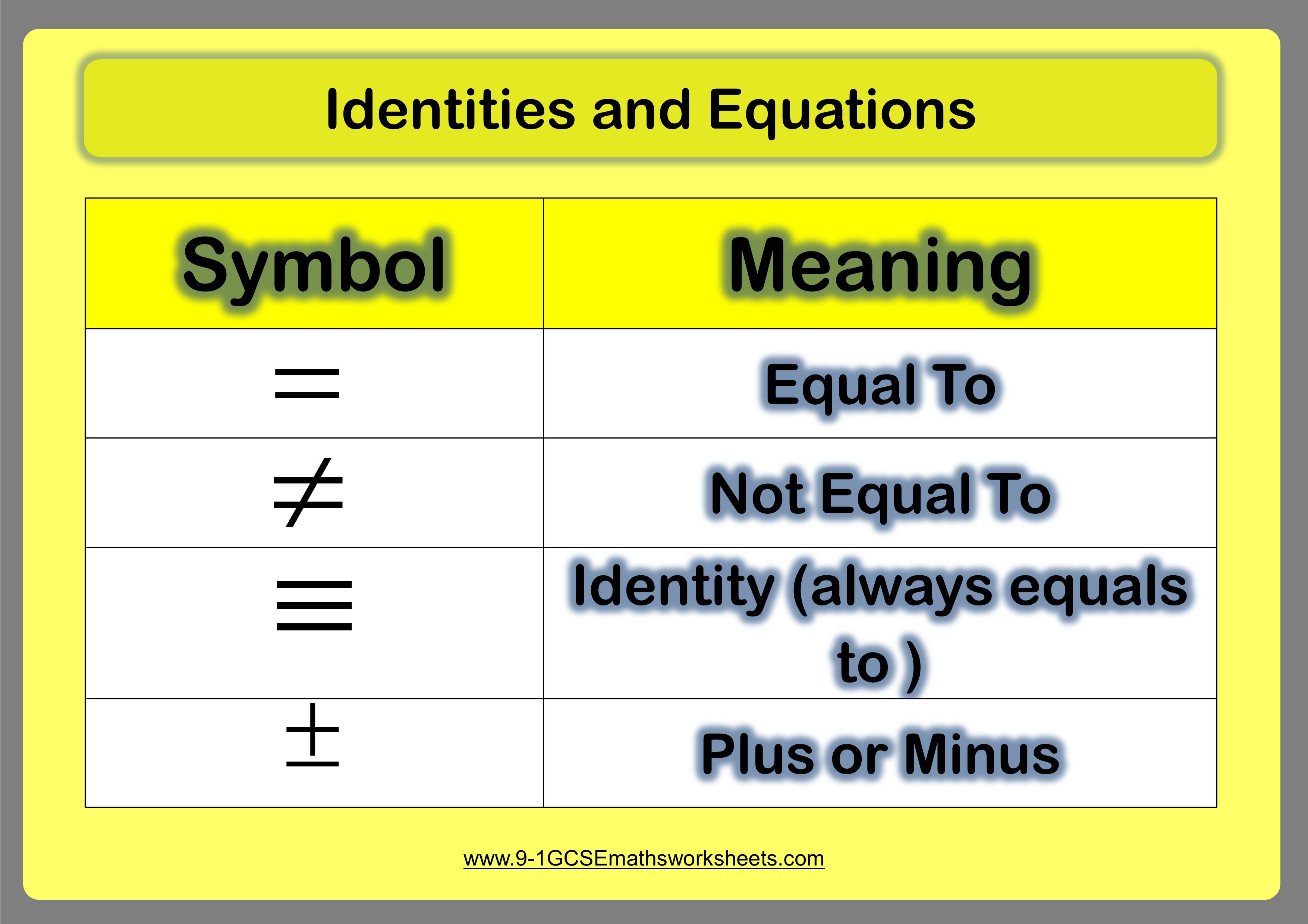 identities maths 2