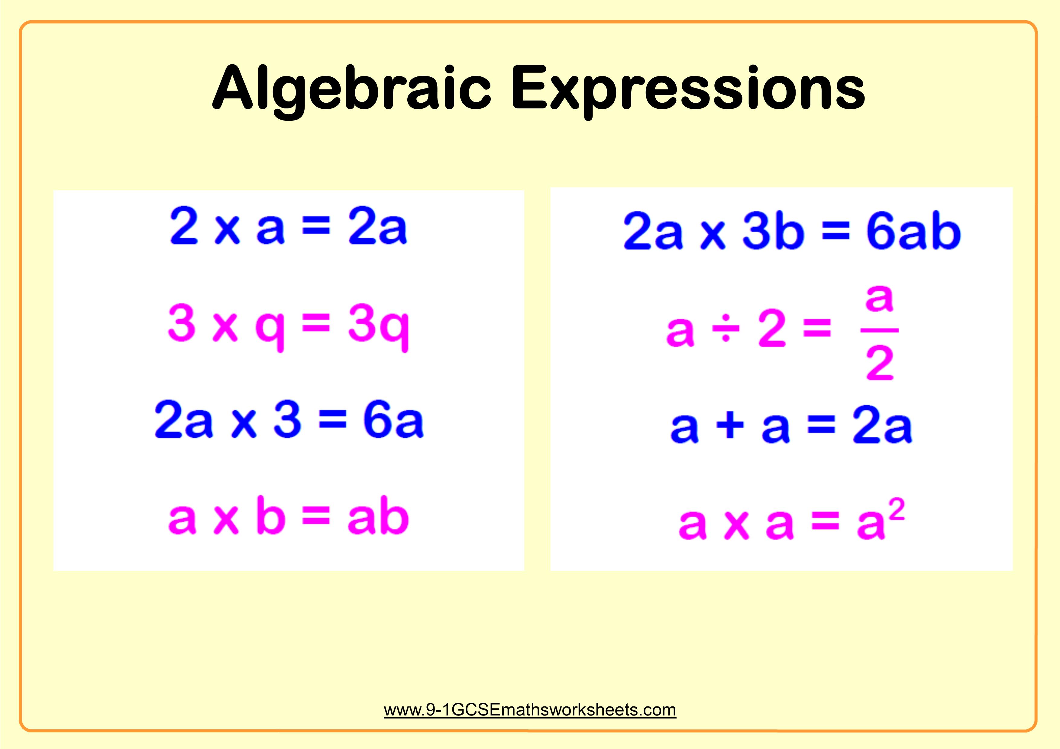 Algebraic Expressions Worksheet Example 1
