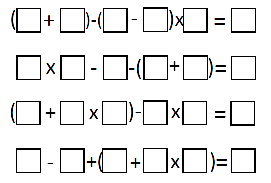bidmas worksheet example 1