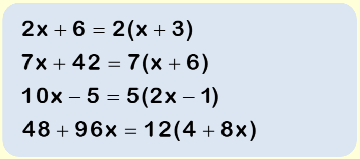 Factorising worksheet example