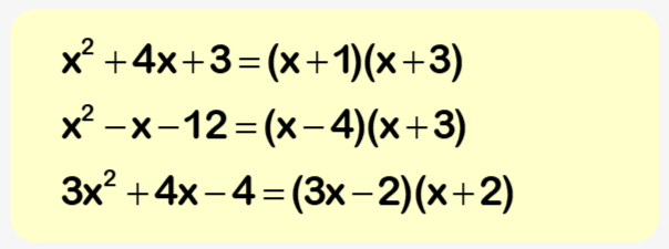 Factorising worksheet example 2