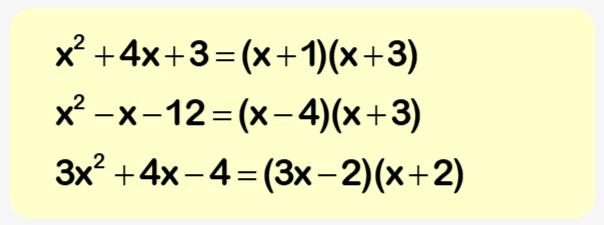 Factorising worksheet example 2