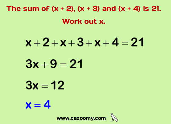 Forming Solving Equations Example 1