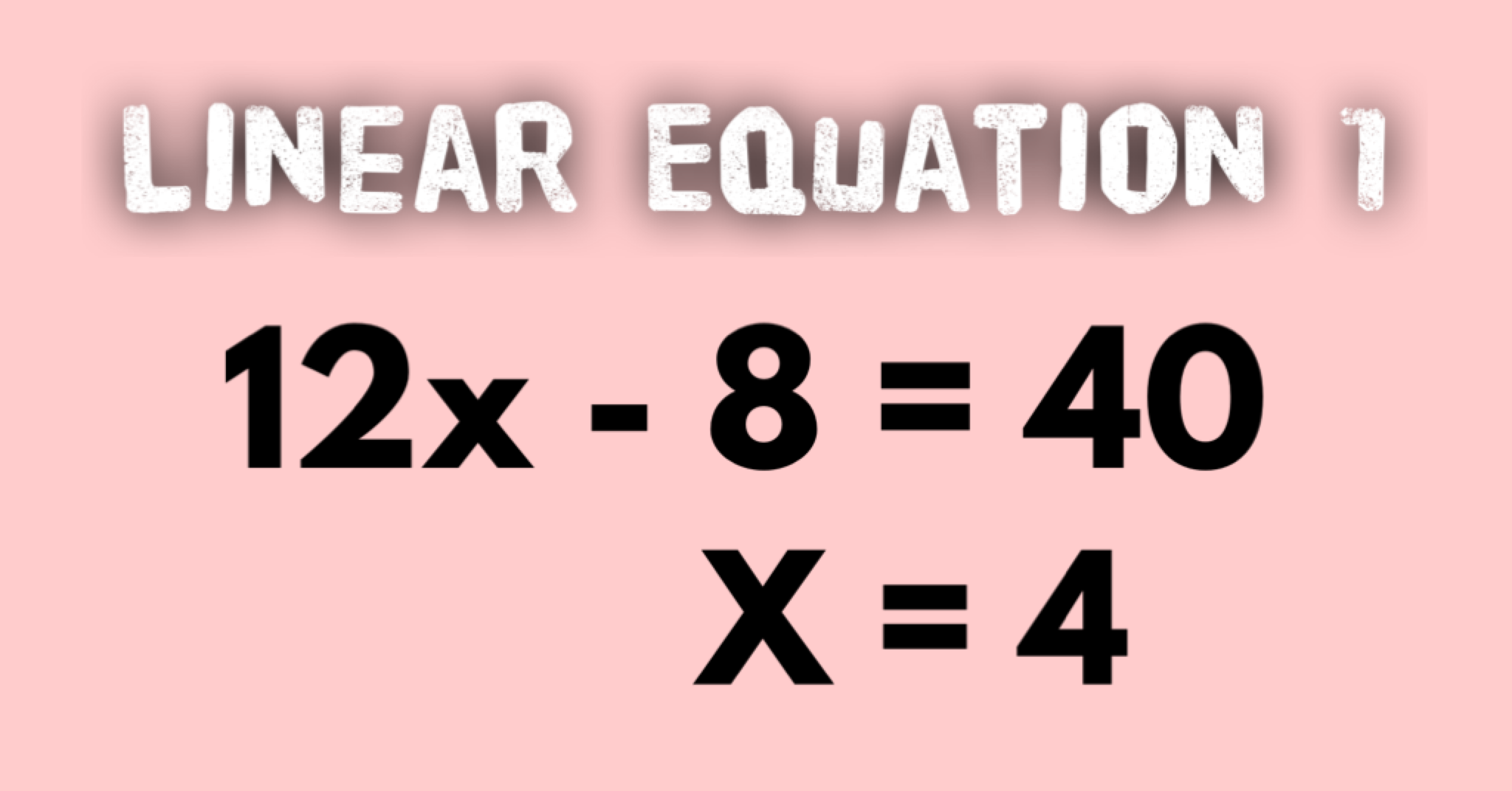 Linear Equations Example 1