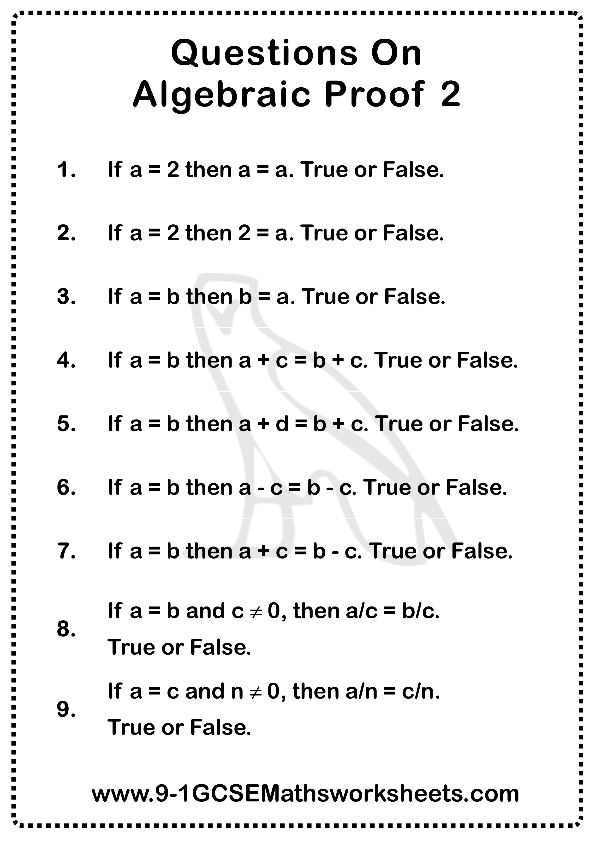 Algebraic Proof Worksheet 2