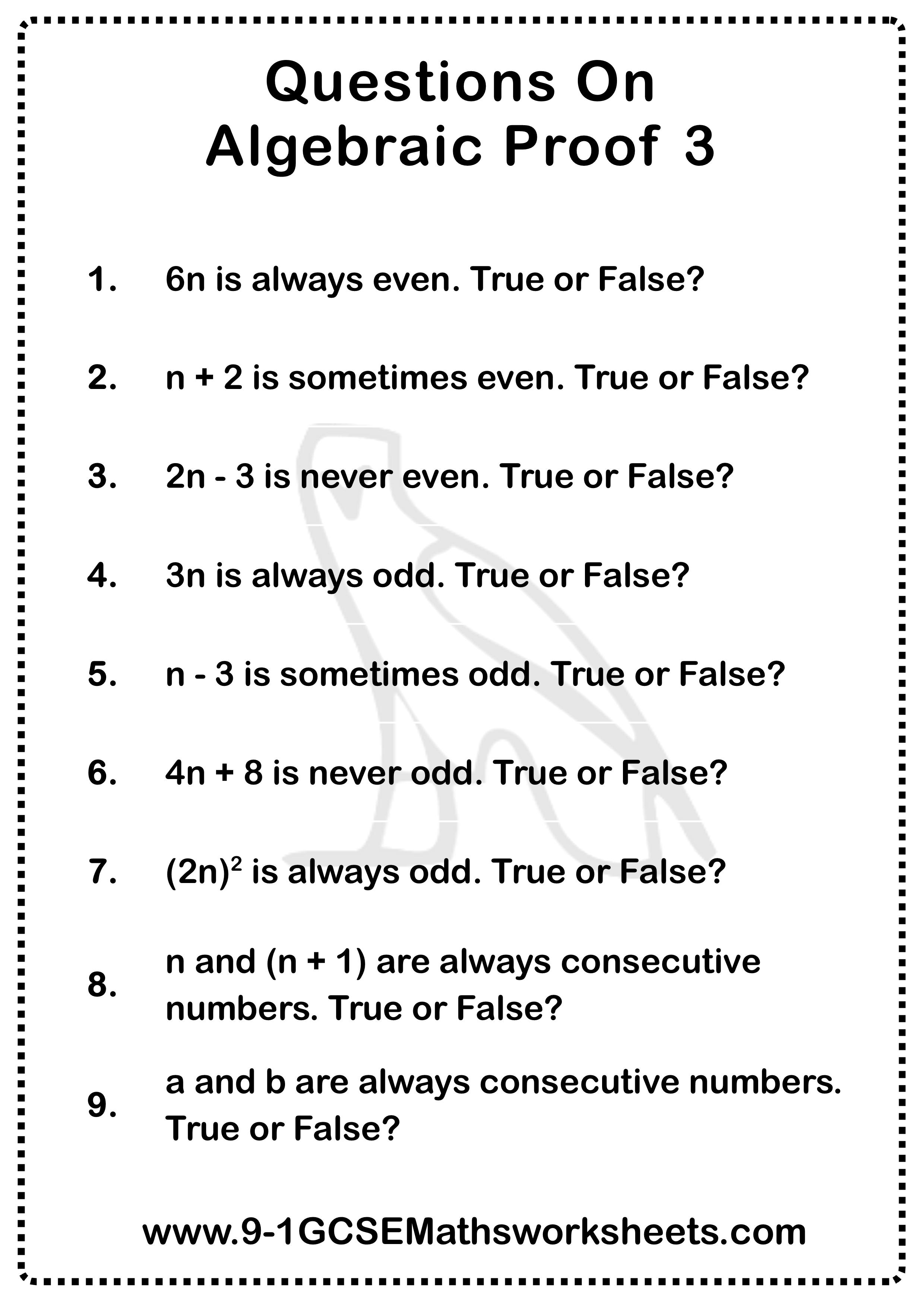 Algebraic Proof Worksheet 3