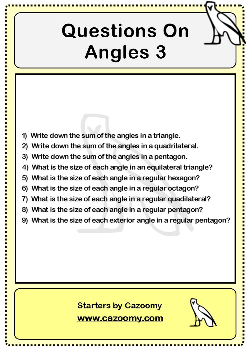 Angles Worksheet 3