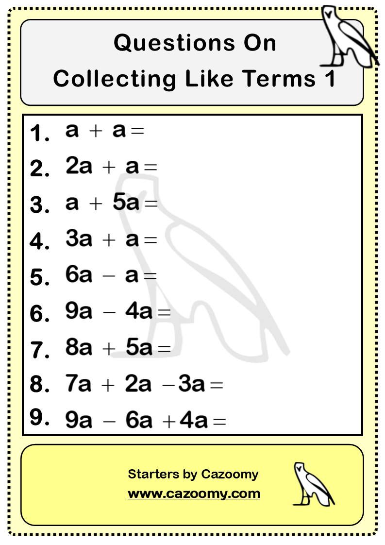 Collecting Like Terms Worksheet Practice Questions | Cazoomy.com