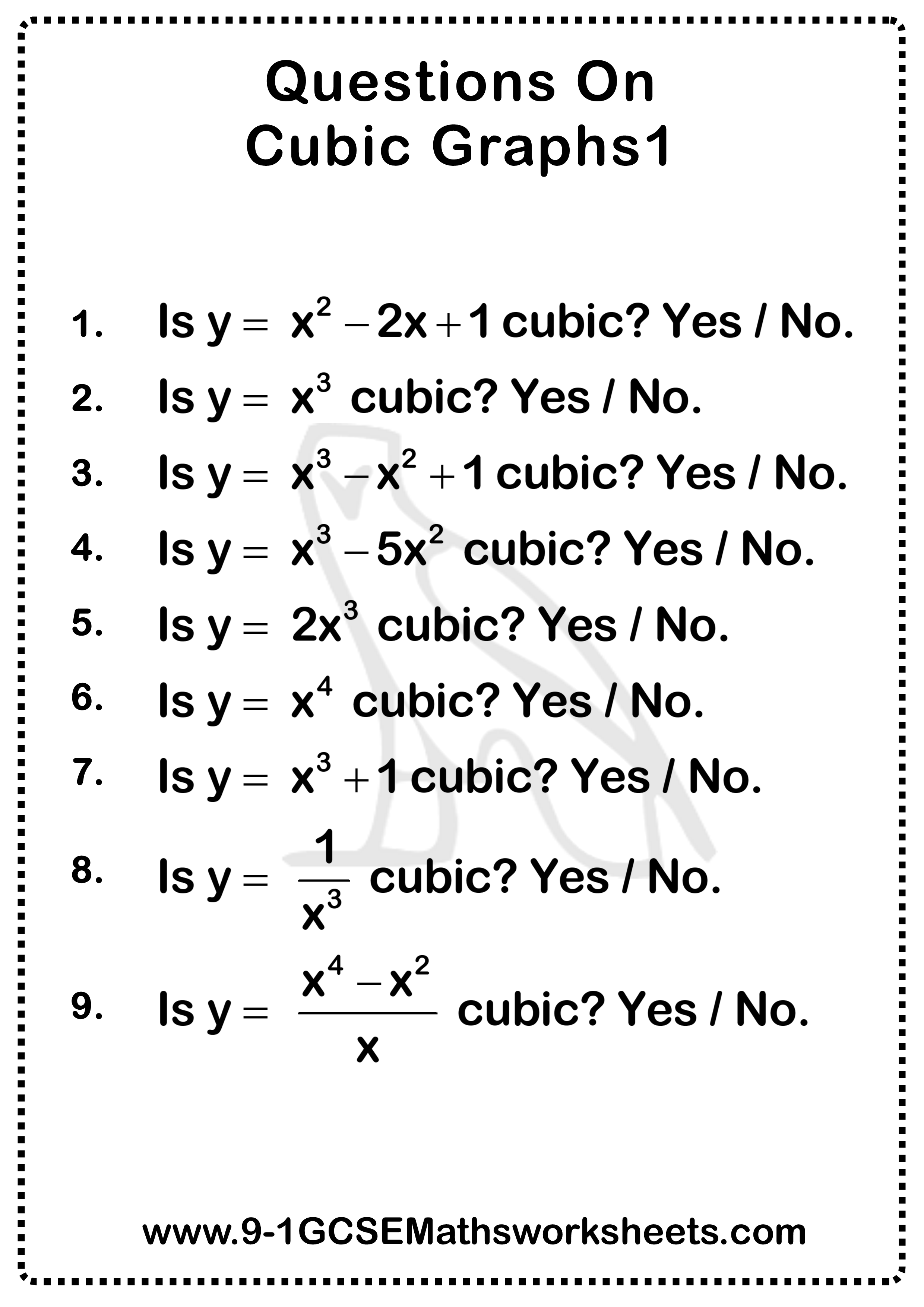 Cubic Graphs Worksheet 1