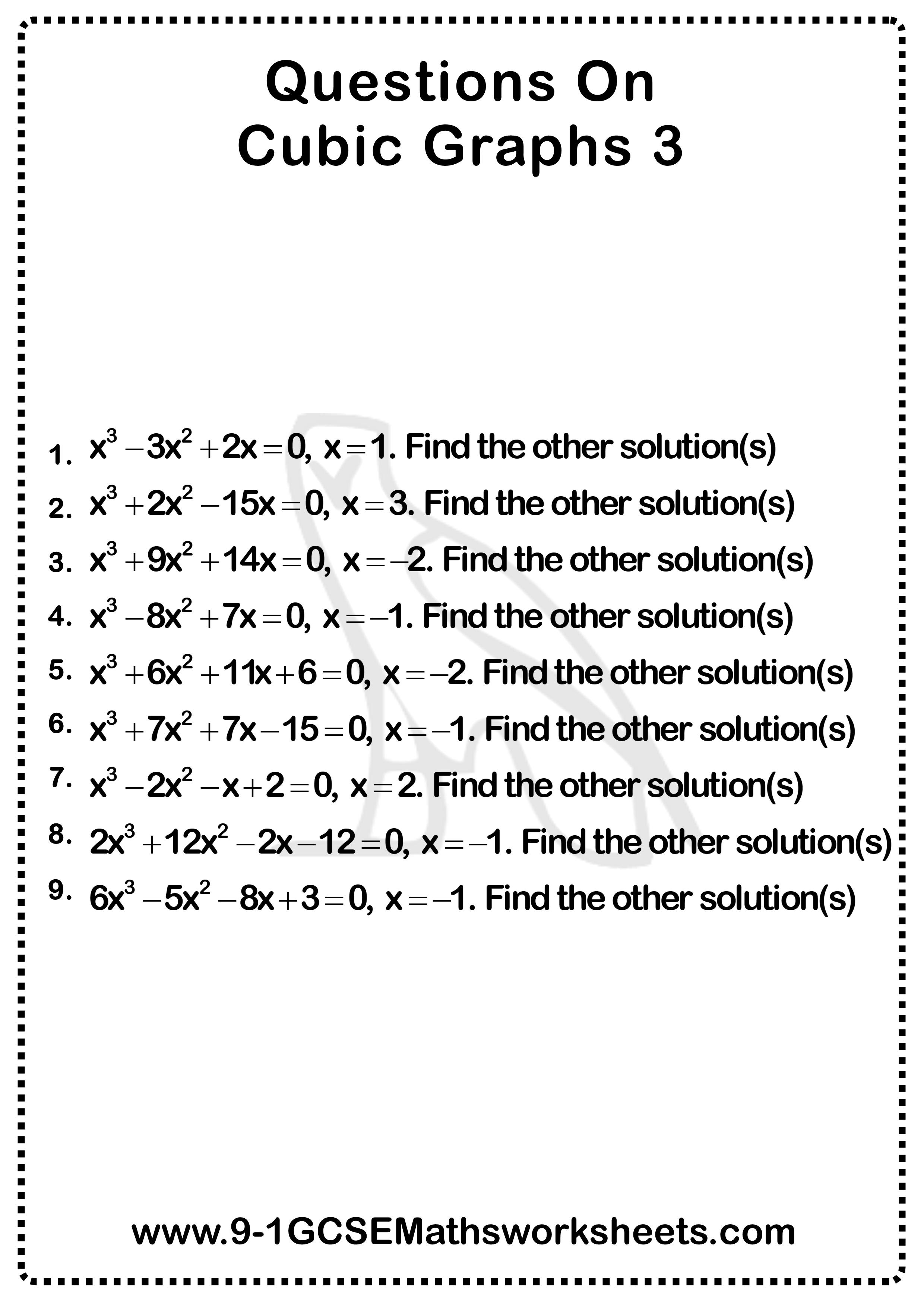Cubic Graphs Worksheet 3