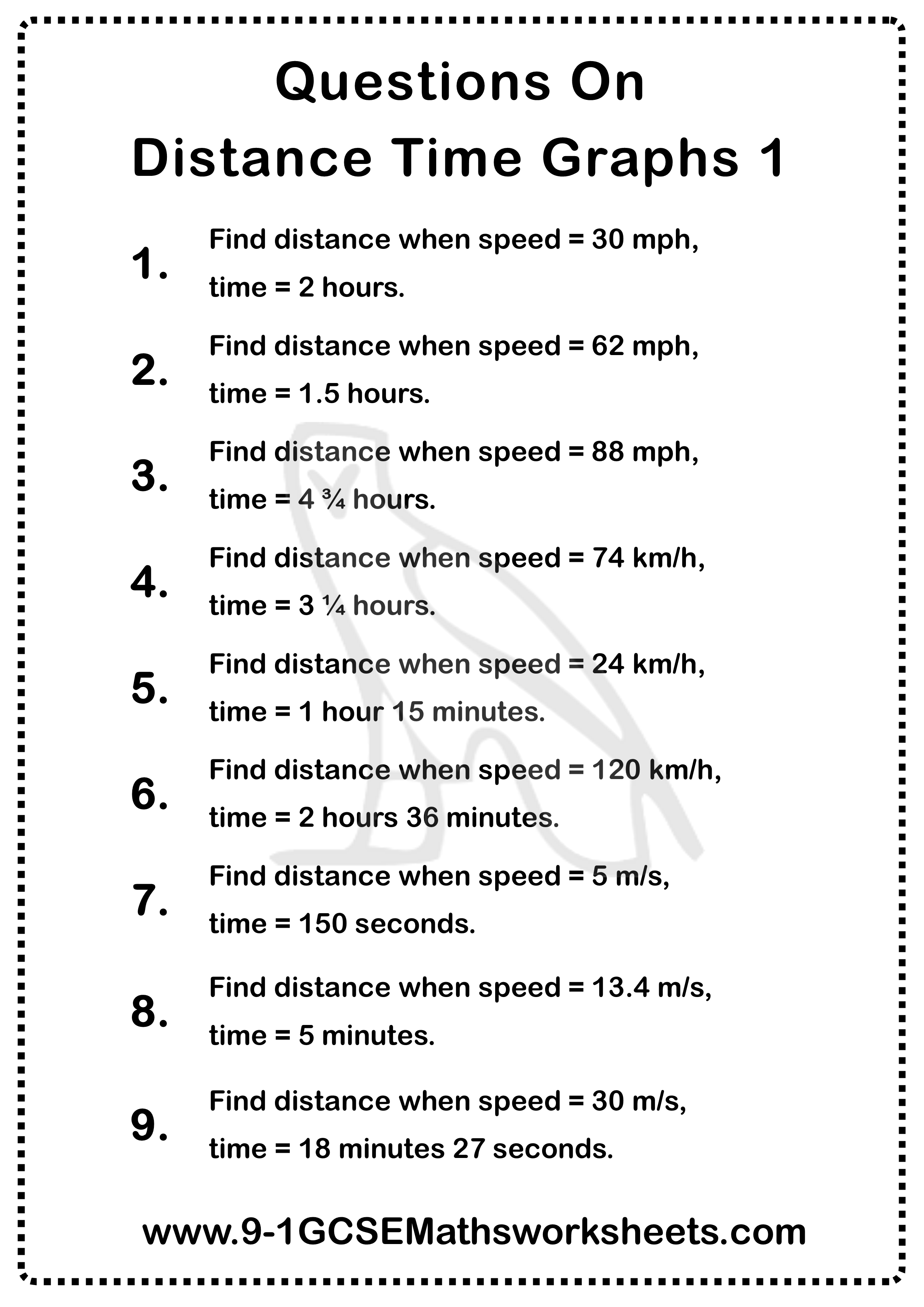 Distance Time Graphs Worksheet 1