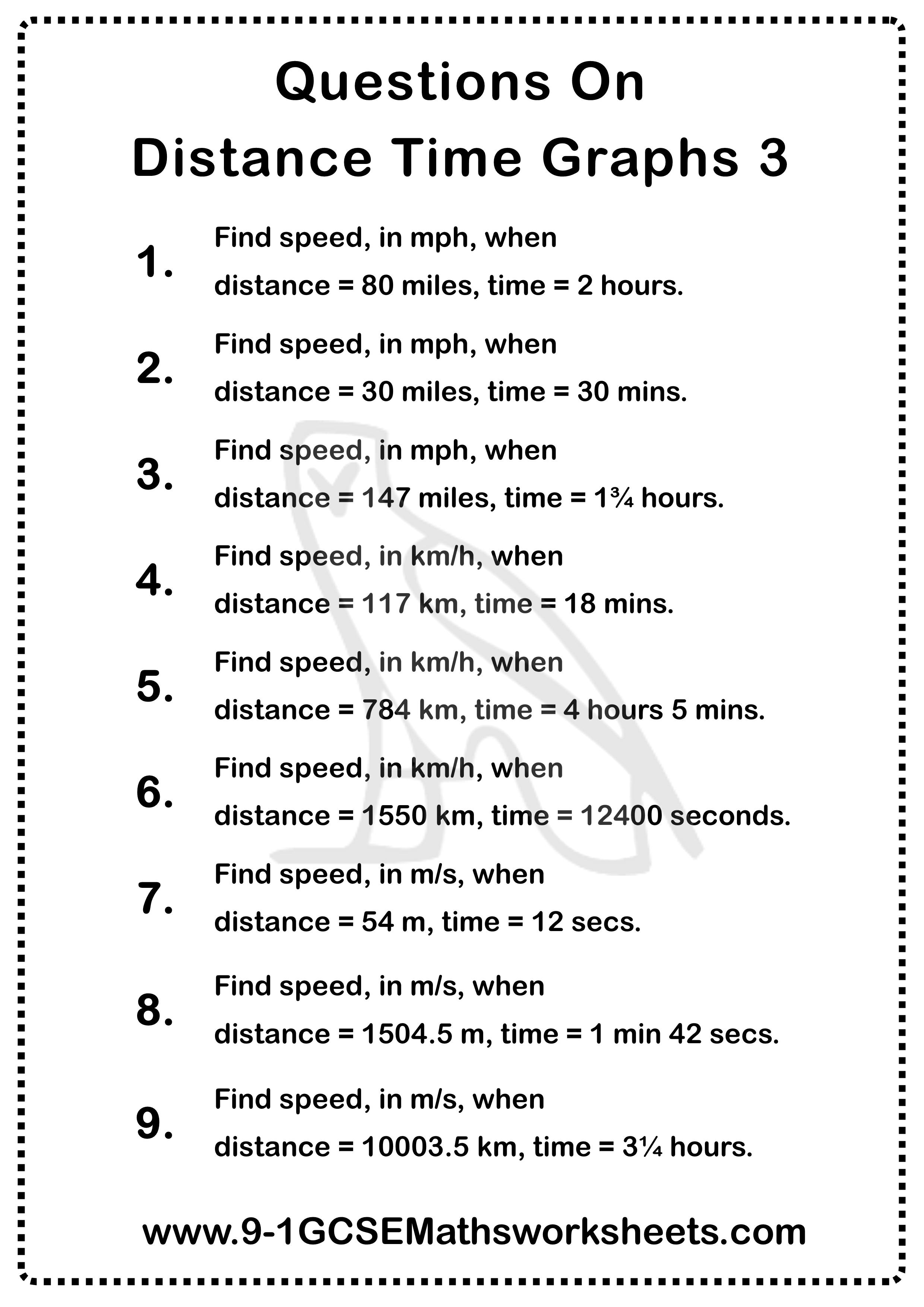 Distance Time Graphs Worksheet 3