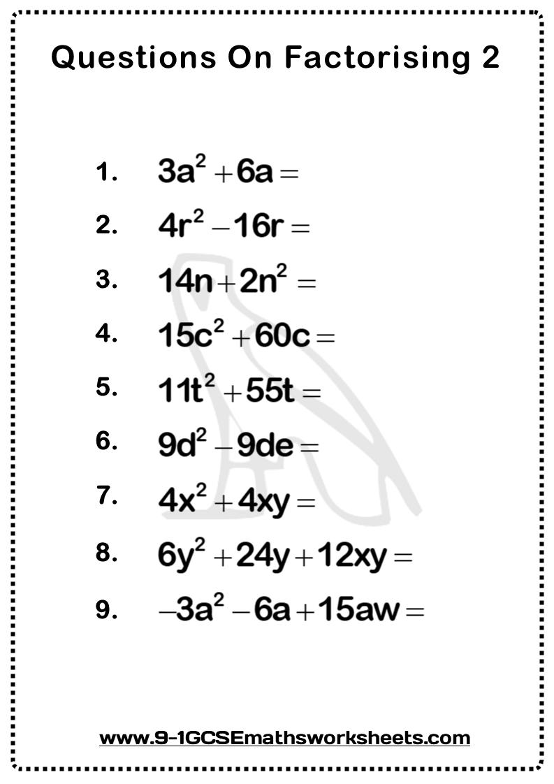 Factorising Worksheet 2