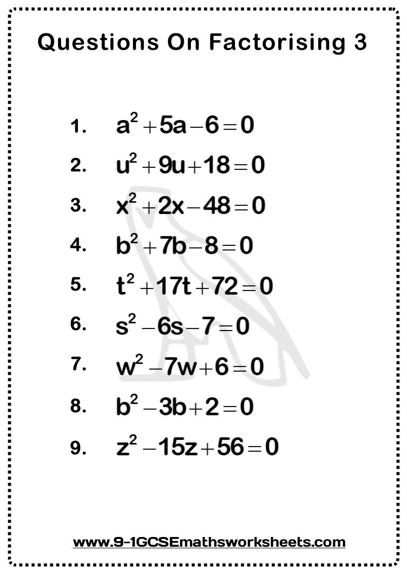 Factorising Worksheet 3