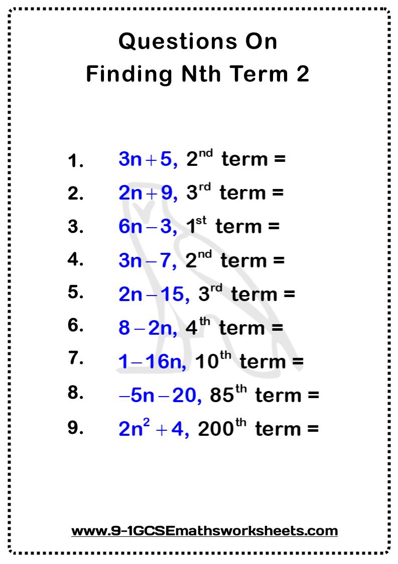 Finding Nth Term Worksheet 2