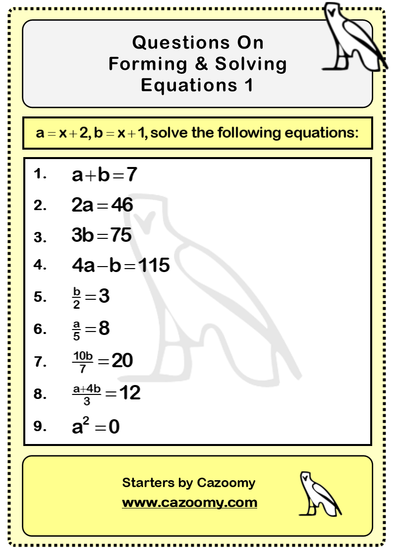 Forming Solving Equations Worksheet 1