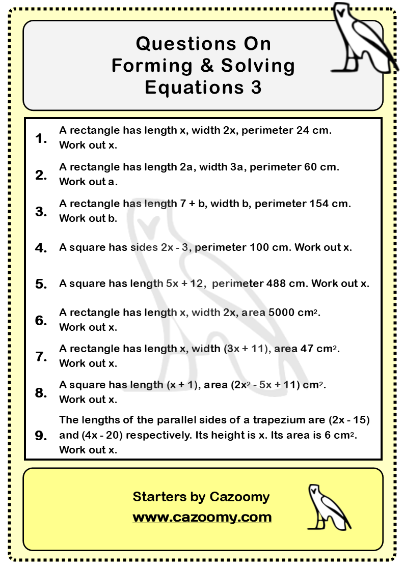 Forming Solving Equations Worksheet 3