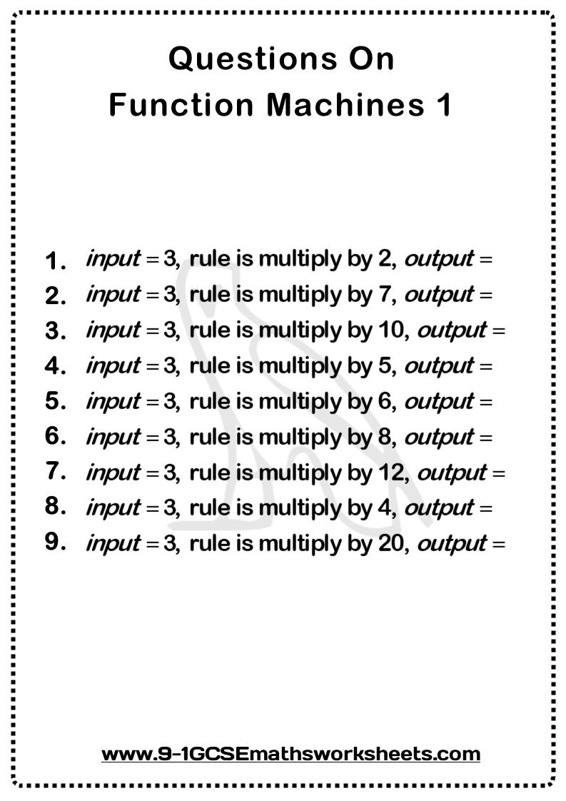 Function Machines Worksheet 1