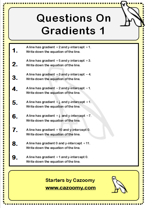 Gradients Of Lines Worksheet 1