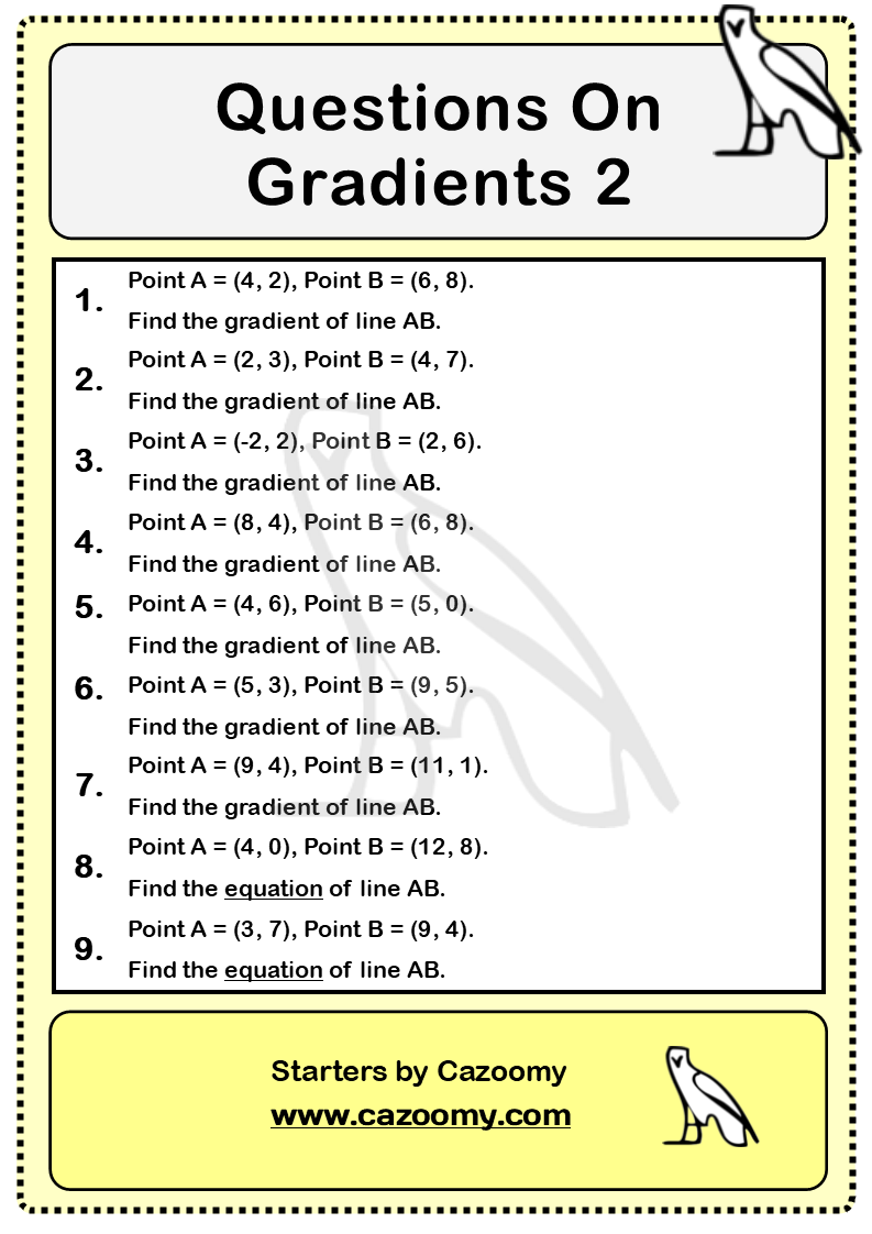 Gradients Of Lines Worksheet 2