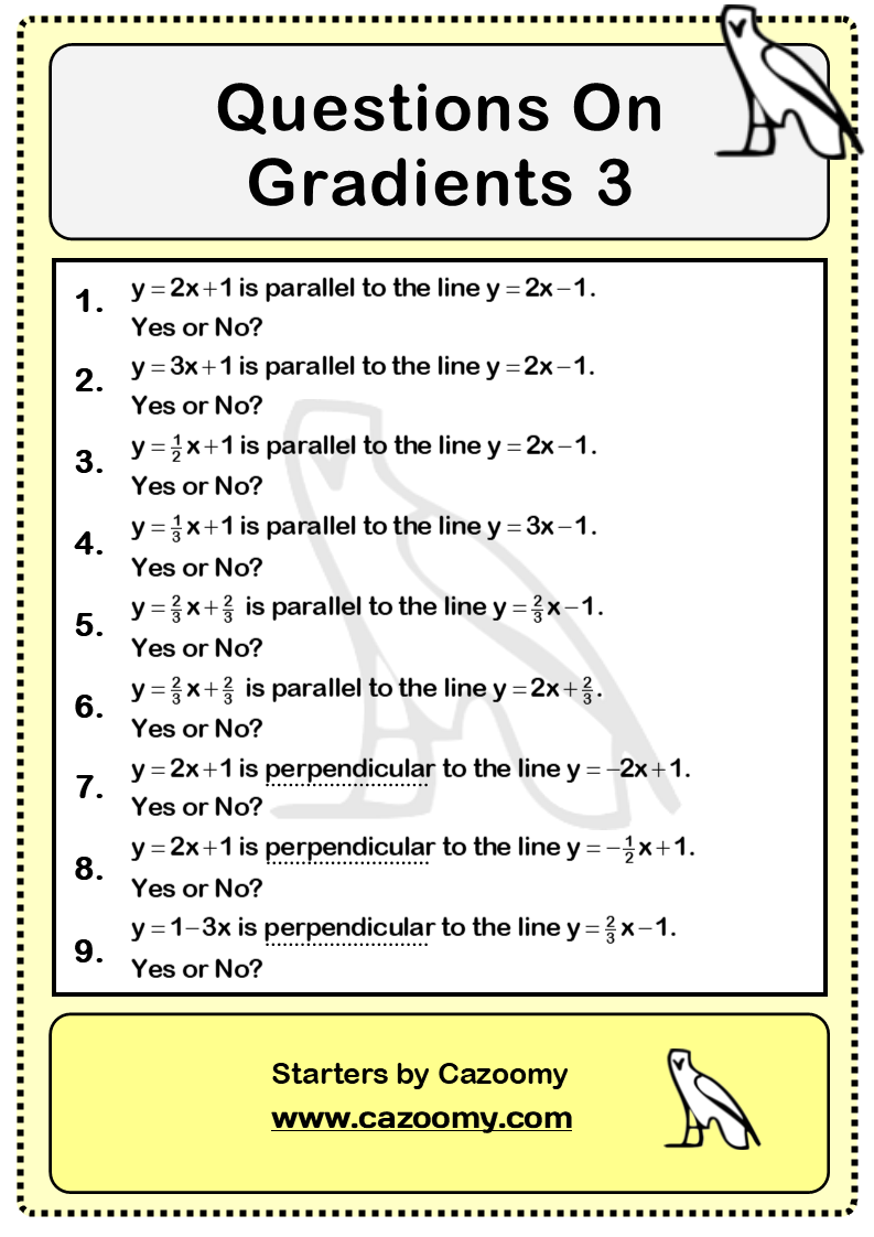 Gradients Of Lines Worksheet 3