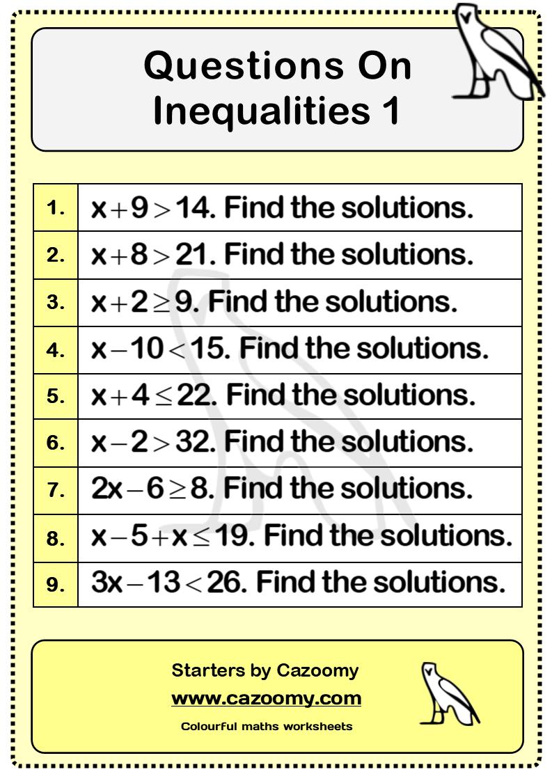 Inequalities Worksheet 1