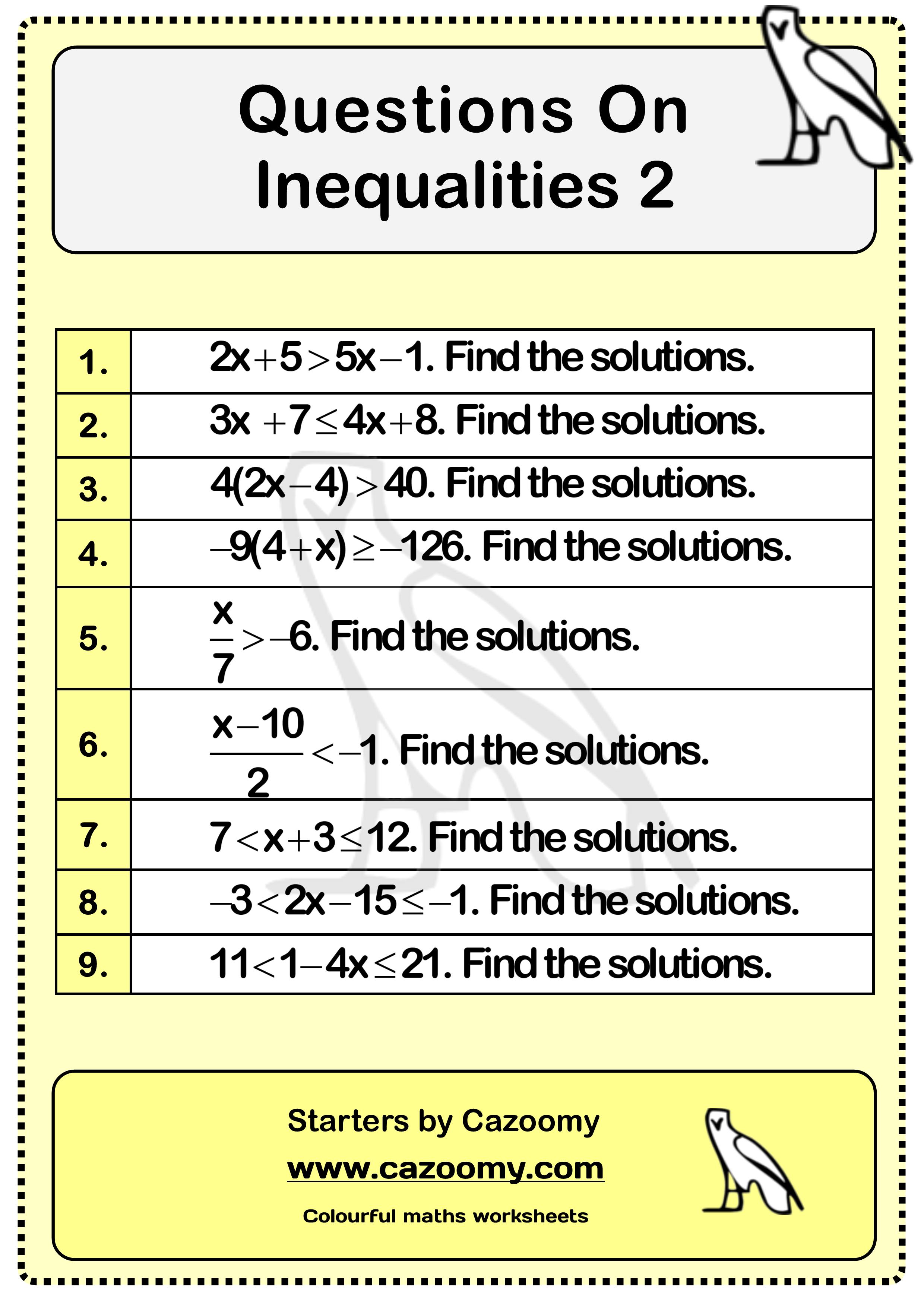 Inequalities Worksheet 2