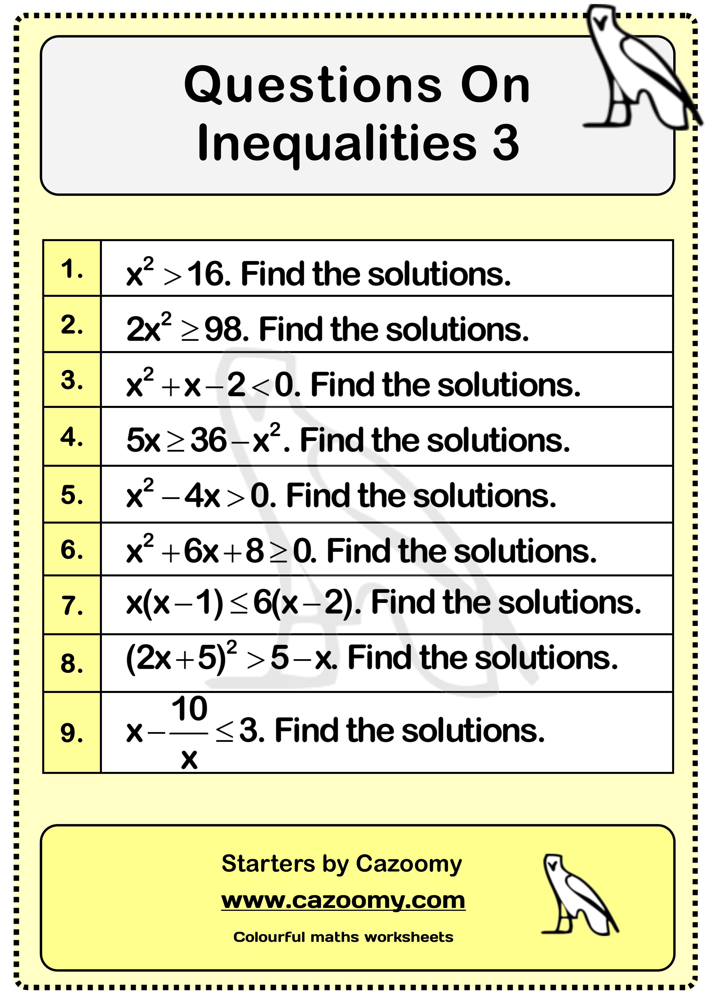 Inequalities Worksheet 3