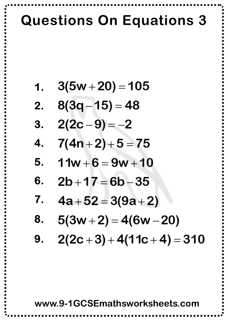 Linear Equations Worksheet 3