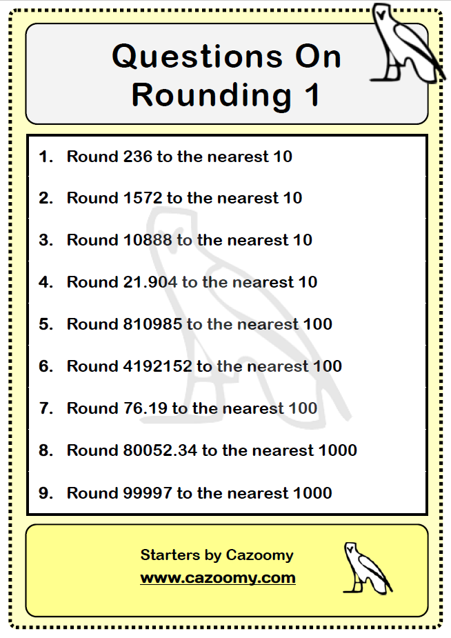 Rounding Worksheet 1