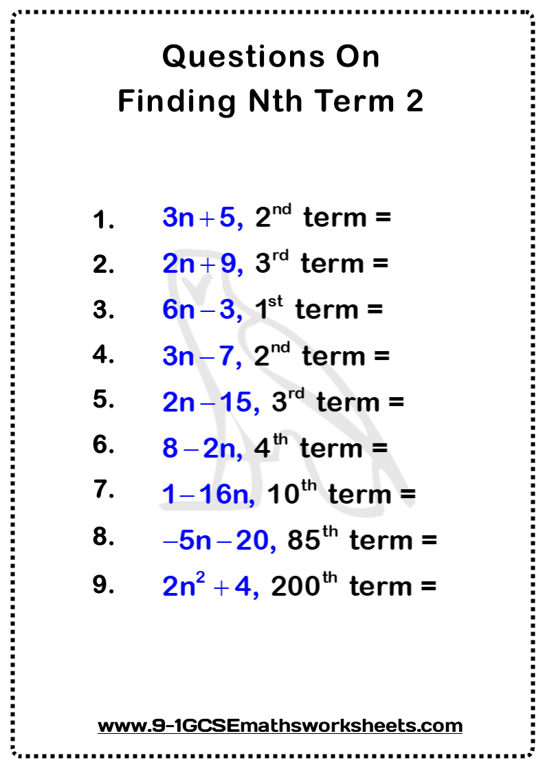 Sequences Worksheet 2