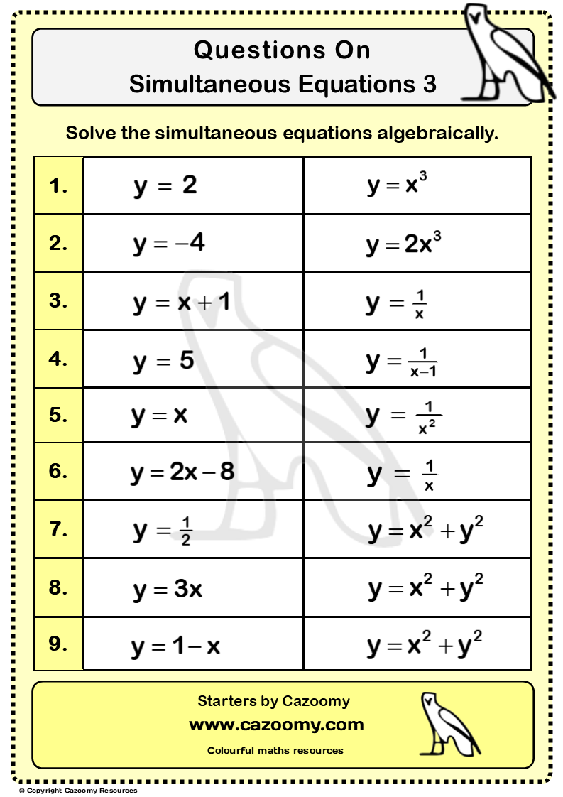 Simultaneous Equations Worksheet 3