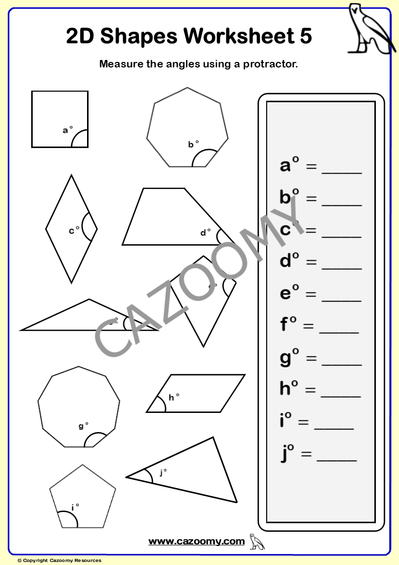 2D Shapes Worksheet 5
