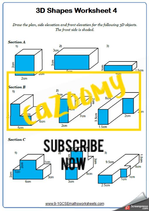 3D Shapes Worksheet 4