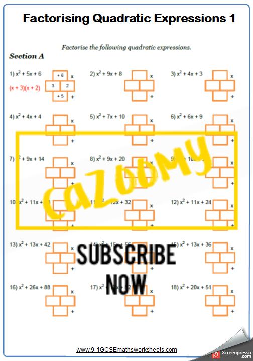 Algebra Worksheet 3