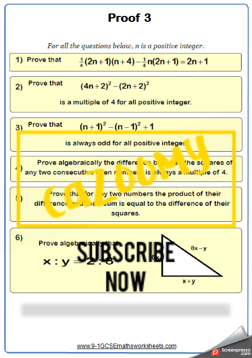 Algebraic Proof Worksheet 3