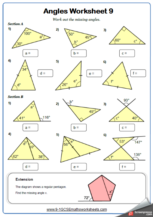 Angles In Triangles Worksheet 1
