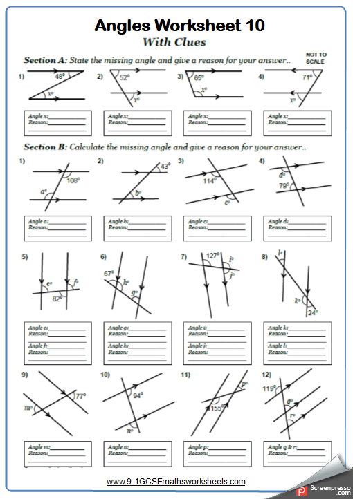 Angles On Parallel Lines Worksheet 4