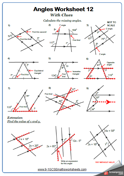 Angles On Parallel Lines Worksheets New Engaging Cazoomy