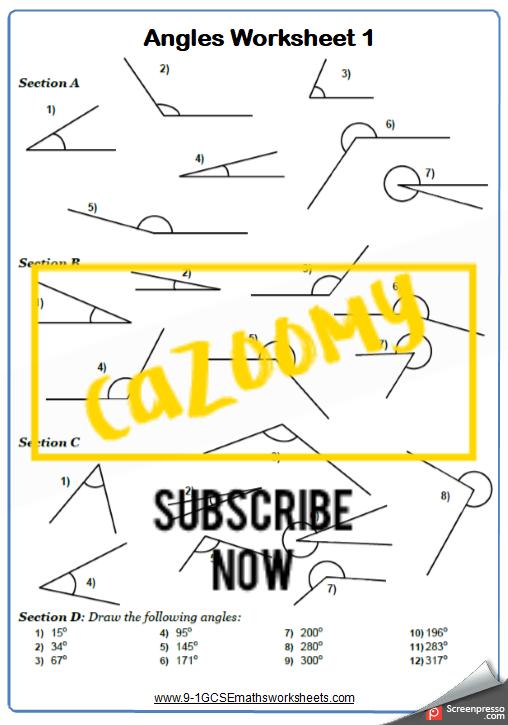 Angles Worksheet 1
