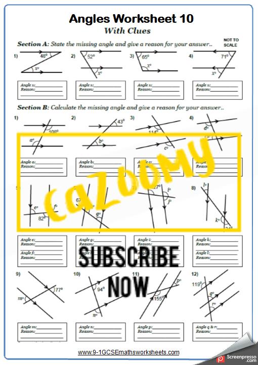 Angles Worksheet 10